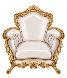 Armchair gold ornamented Vector watercolor. Baroque rich wooden carves decor. Victorian luxury furniture. Painted style Stock Vector