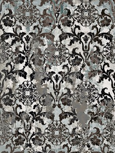 Vintage ornament pattern Vector. Baroque rococo texture luxury design. Royal textile decors. Old painted effect. Gray concrete background Stock Vector