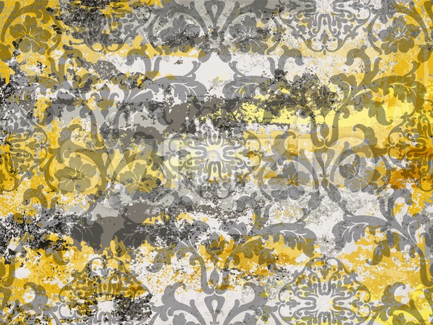 Vintage ornament pattern Vector. Baroque rococo texture luxury design. Royal textile decors. Old painted effect. Yellow concrete background Stock Vector