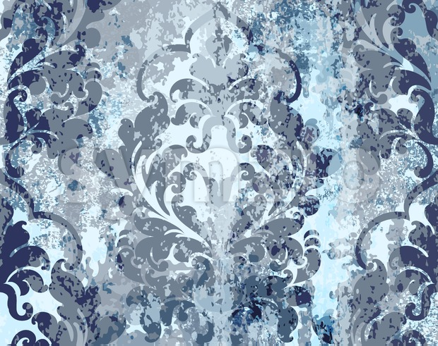 Vintage blue ornament pattern Vector. Baroque rococo texture luxury design. Royal textile decors. Old painted background