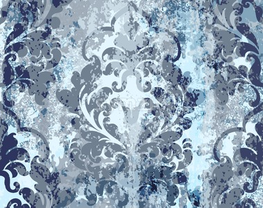 Vintage blue ornament pattern Vector. Baroque rococo texture luxury design. Royal textile decors. Old painted background Stock Vector