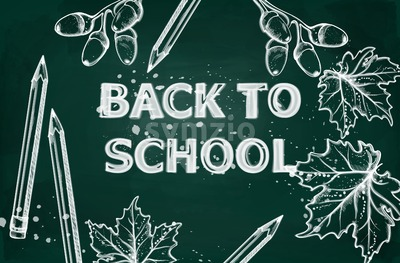 Back to school Vector banner. Sale school supplies promotion advertise poster. Chalk outline drawing texture Stock Vector