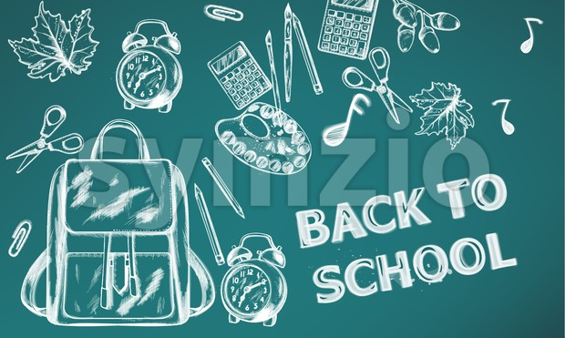 Back to school Vector banner. Sale school supplies promotion advertise poster. Chalk outline drawing texture