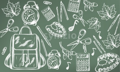 School supplies abstract pattern Vector. Back to school background. Chalk line drawing Stock Vector