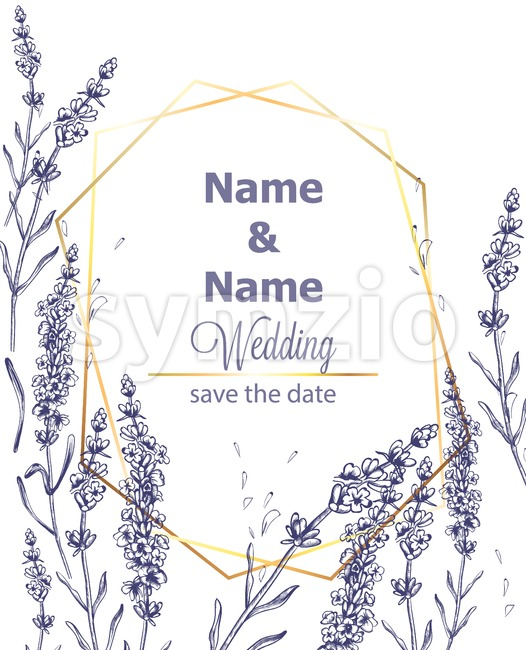 Lavender card Vector vintage line art. Provence floral decor hand drawn. Summer wedding ceremony delicate poster Stock Vector