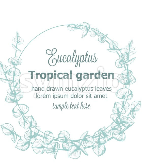 Eucalyptus wreath Vector vintage line art. Provence floral decor hand drawn. Summer wedding ceremony delicate poster Stock Vector
