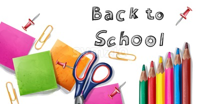 Back to school Vector banner. Sale school supplies promotion advertise poster Stock Vector