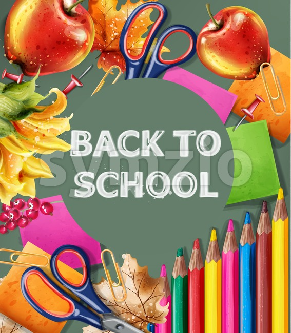 Back to school Vector banner. Sale school supplies promotion advertise poster