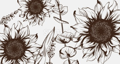Sunflowers line art Vector. Hand drawn decor texture vintage style Stock Vector