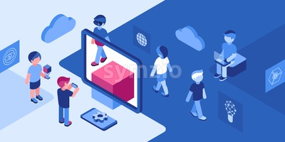 Artificial virtual reality business gaming technology isometric 3d icons infographics with people, digital vector advert infographics Stock Vector