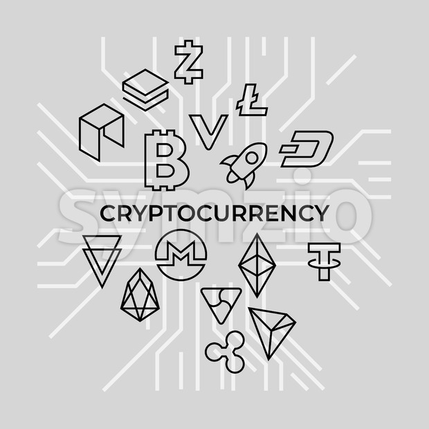 Crypto currency thin line silver background icons isolated vector illustration