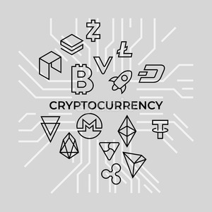Crypto currency thin line silver background icons isolated vector illustration Stock Vector