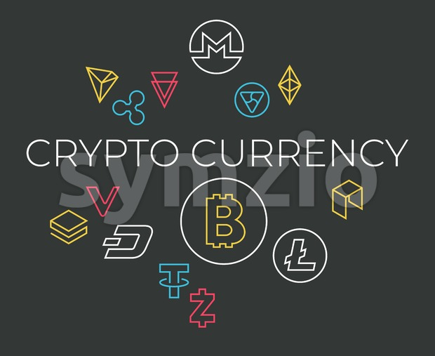 Crypto currency thin line color background icons isolated vector illustration