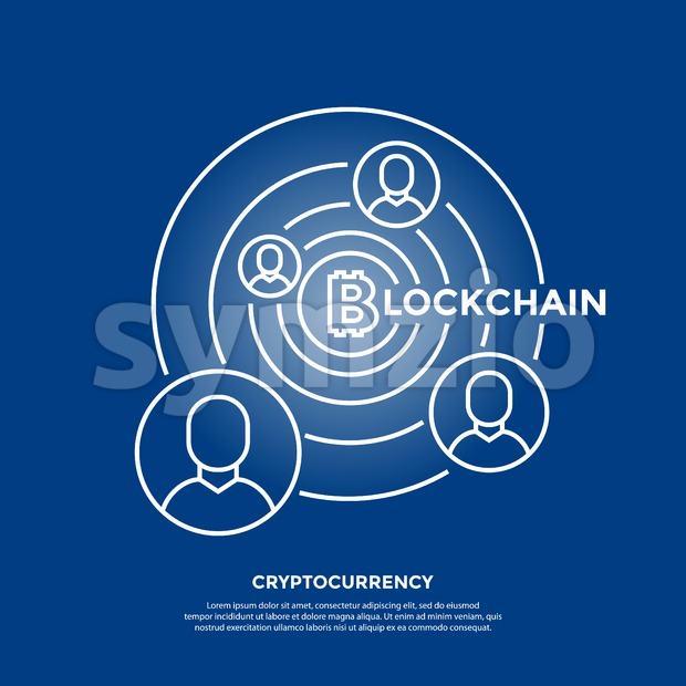 Bitcoin crypto currency blockchain thin line color background icons isolated vector illustration Stock Vector