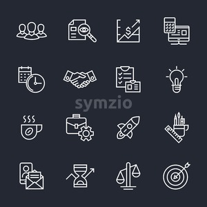 Team work, start up, business vector background vector icons, illustration, flat line Stock Vector