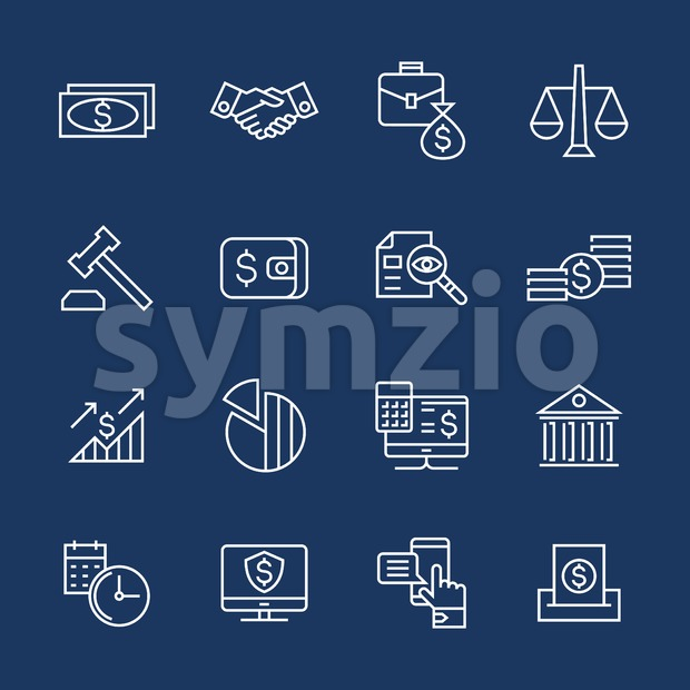 Accounting, banking finance flat line icons vector illustration background
