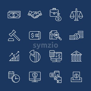 accounting, banking finance flat line icons vector illustration background Stock Vector