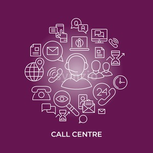 customer service, call centre line flat art vector background illustration Stock Vector