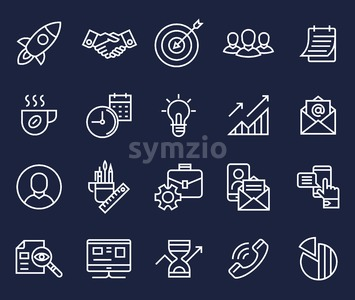 project startup planning communication teamwork cooperation flat line icons vector background banner illustration Stock Vector