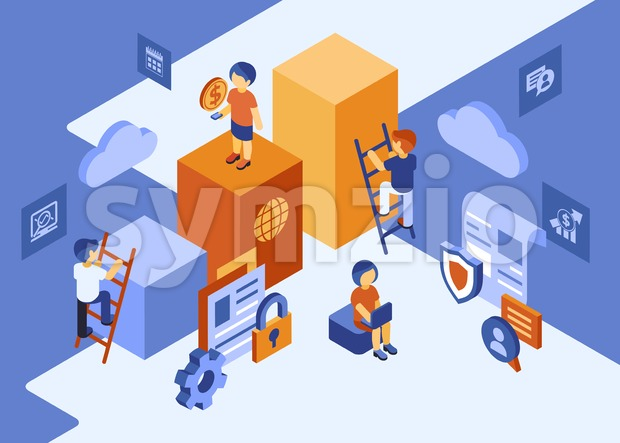 Isometric team work people business and security icons, digital vector infographic illustration