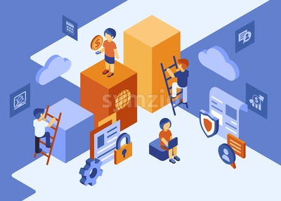 Isometric team work people business and security icons, digital vector infographic illustration Stock Vector