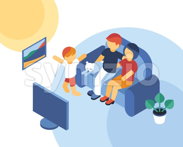 Isometric family time together watching tv icons, digital vector illustration