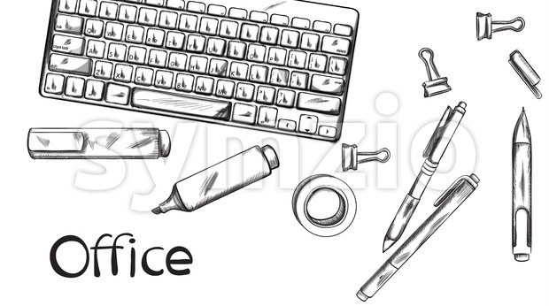 Office desk Vector banner line art. Keyboard and pens silhouettes. Graphic template poster