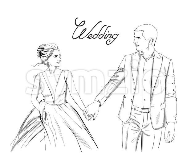 Wedding couple Vector line art. Lovely couple holding hands. Bride and groom silhouette vintage style. Beautiful long dress . Template for design card Stock Vector