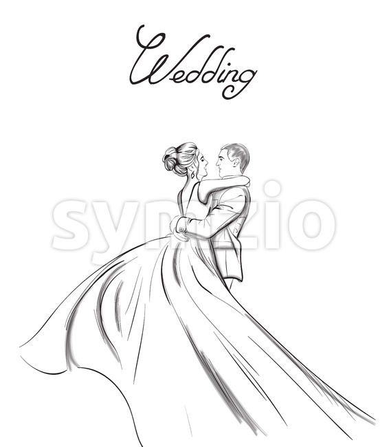 Wedding couple Vector line art. Lovely couple hugs. Bride and groom silhouette vintage style. Beautiful long dress . Template for ...