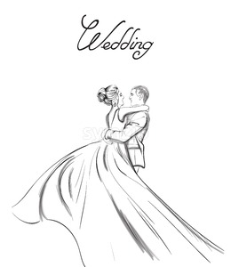 Wedding couple Vector line art. Lovely couple hugs. Bride and groom silhouette vintage style. Beautiful long dress . Template for design card Stock Vector