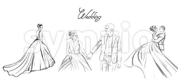 Wedding couple Vector line art set. Bride silhouette vintage style. Beautiful long dress . Template for design card