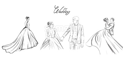 Wedding couple Vector line art set. Bride silhouette vintage style. Beautiful long dress . Template for design card Stock Vector