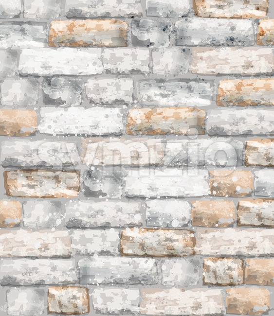Brick texture Vector watercolor. Stone background template material Stock Vector