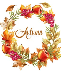Autumn harvest wreath card Vector. Fall muchrooms and fruits decor poster Stock Vector