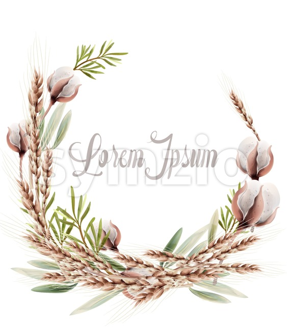 Wheat ears wreath card. Vintage rustic autumn poster. Fall boho decoration Stock Vector