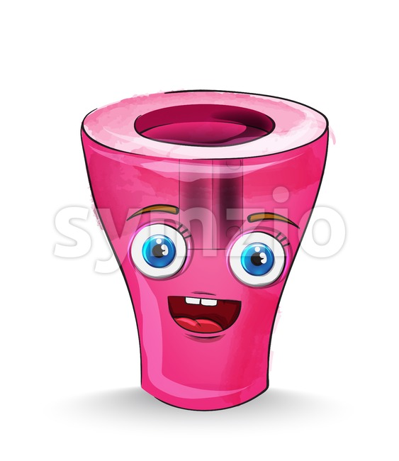 Sharpener cartoon character Vector. Happy smilling school concept