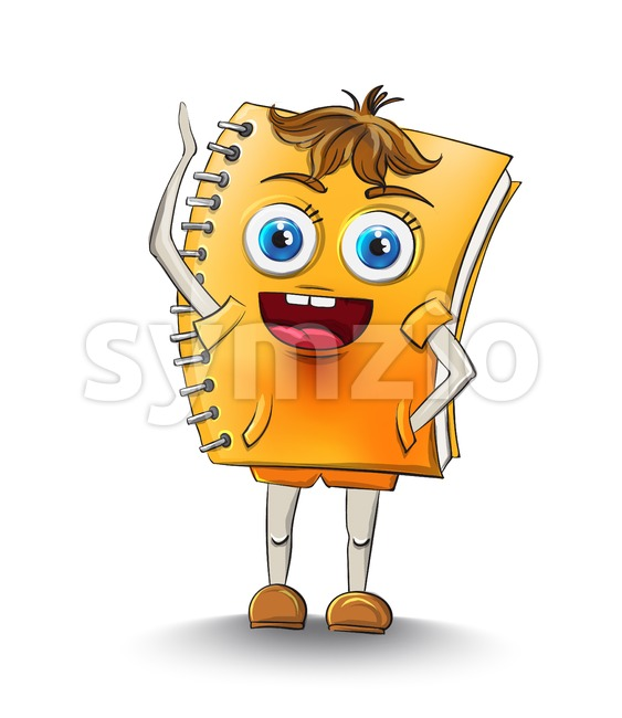 Notebook cartoon character Vector. Happy smilling school concept Stock Vector