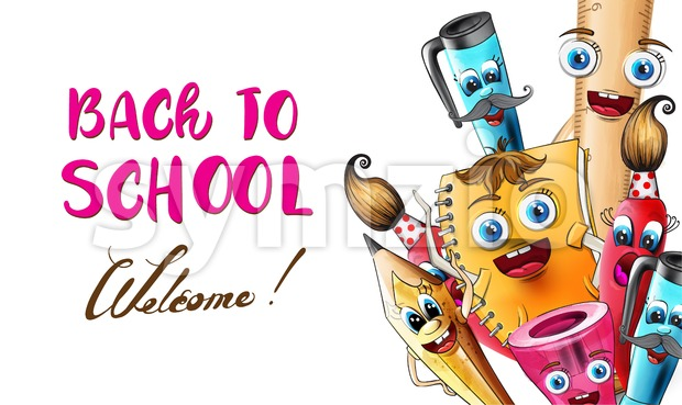 Back to school cartoon characters Vector watercolor. School supplies pen and ruler funny characters illustration watercolor style