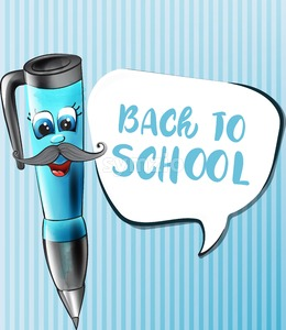 Back to school pen cartoon character Vector. Funny face smilling back to school concept Stock Vector