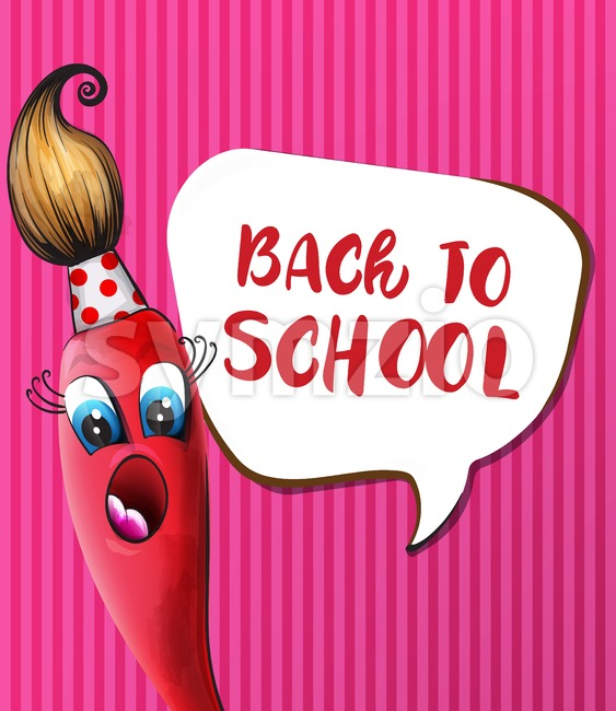 Back to school brush cartoon character Vector. Funny face smilling back to school concept Stock Vector