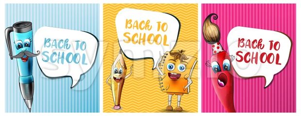 Back to school comics cartoon characters Vector. Notebook pen and ruler funny characters illustration watercolor style