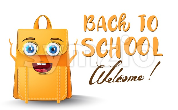 Backpack cartoon character back to school funny concept Stock Vector