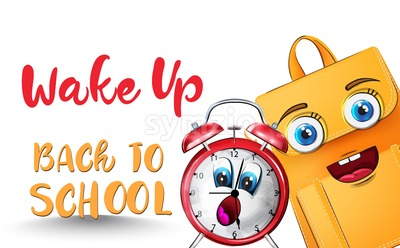 Alarm clock back to school funny cartoon character Vector watercolor Stock Vector