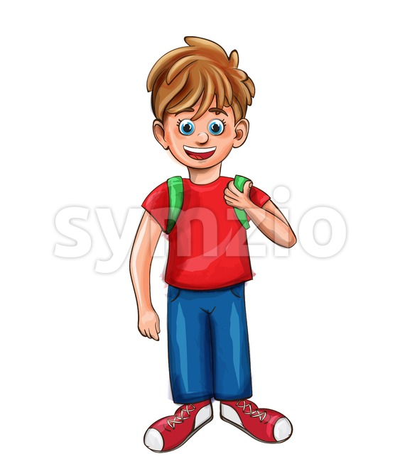 Happy boy smilling cartoon character Vector. Red shirt retro style Stock Vector