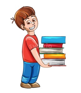 Boy holding a bunch of books Vector. Smiling school boy happy emotion Stock Vector