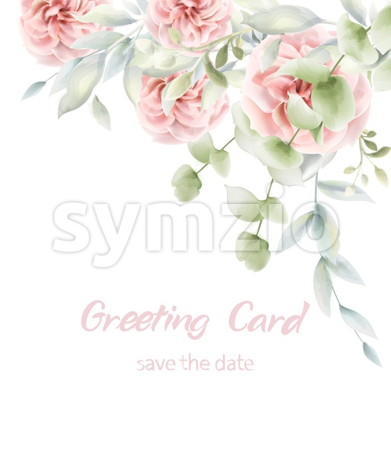 Pink roses floral card Vector watercolor. Provence rustic poster. Birthday invitation, ceremony event greeting decor Stock Vector