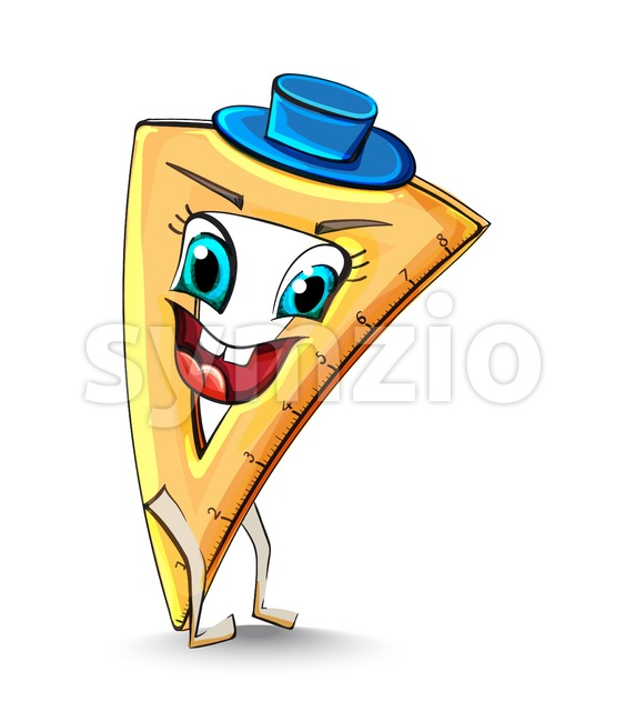 Ruler triangle funny character smiling Vector. School supplies item illustration watercolor style Stock Vector