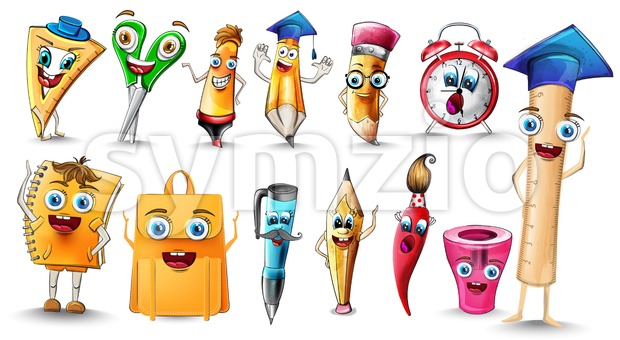 School supplies Cartoon characters set collection Vector watercolor. Notebook pen and ruler funny characters illustration watercolor style