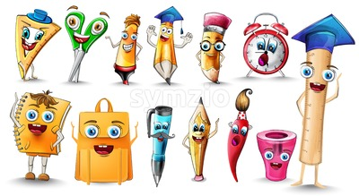 School supplies Cartoon characters set collection Vector watercolor. Notebook pen and ruler funny characters illustration watercolor style Stock Vector