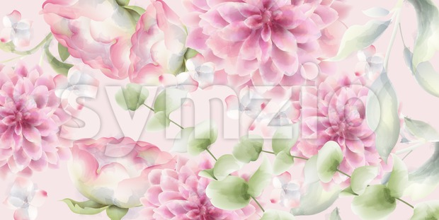 Pink chrysanthemums floral background Vector watercolor. Delicate decor texture Stock Vector